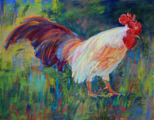 Rooster pastel painting