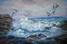 Storm's Bounty, Seascape painting by Shirley Bicke'l Evans