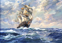 Clearing Skies Cliipper Ship Oil Painting