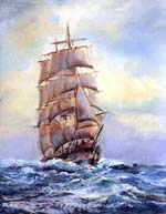 Clipper Days Ship Oil Painting