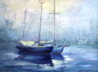 Fog Rising Fishing Boats Oil Painting