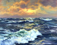 Golden Evening Open Sea Oil Painting