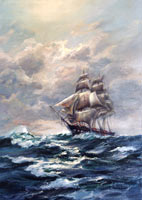 USS Constitution Warship Oil Painting